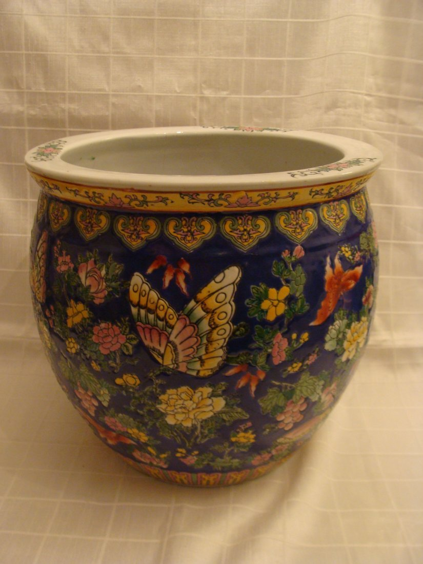 Chinese Fish Bowl Vase Flowers and Butterflies Signed