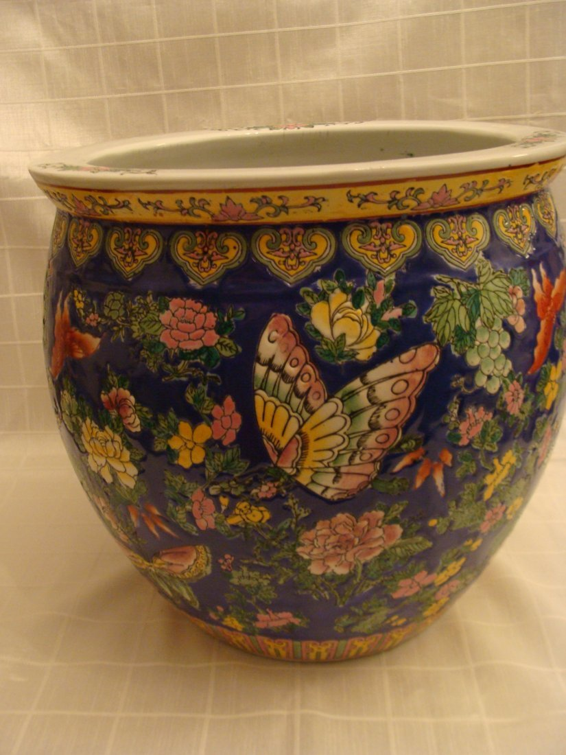 Chinese Fish Bowl Vase Flowers and Butterflies Signed - 2