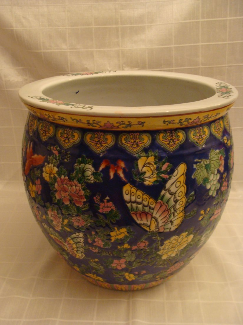 Chinese Fish Bowl Vase Flowers and Butterflies Signed - 3
