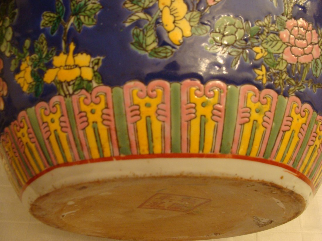 Chinese Fish Bowl Vase Flowers and Butterflies Signed - 4