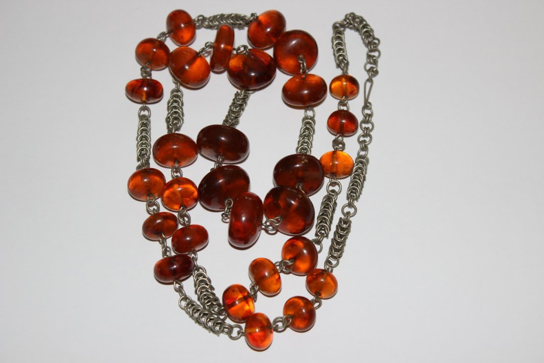 Cherry Round Long Baltic Amber Necklace