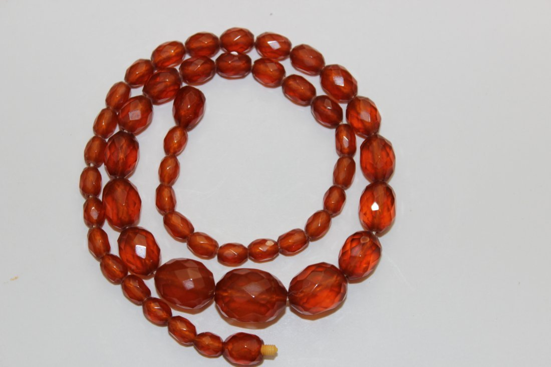 Antique Faceted Genuine Amber Necklace