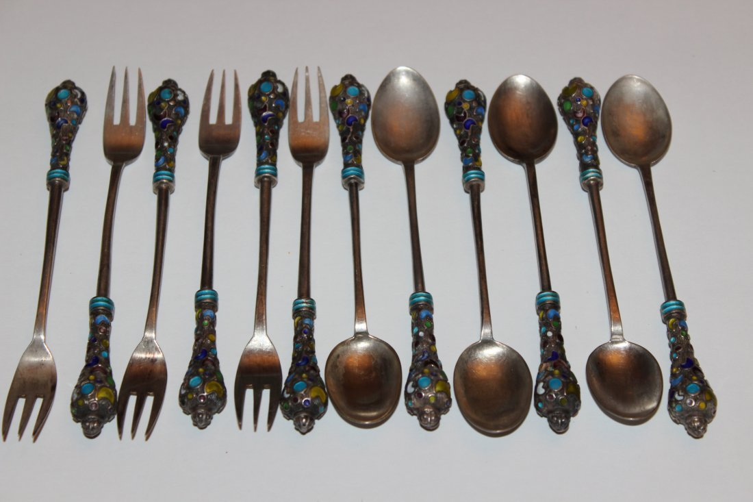 Rare Antique Chinese Silver Enamel Spoons and Forks