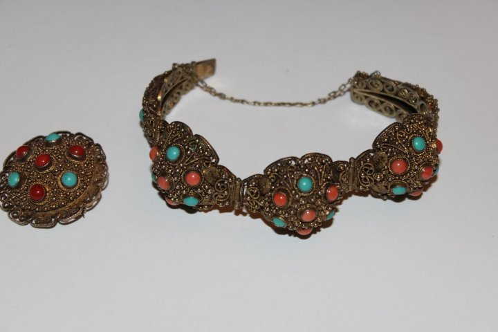 Antique Chinese Coral & Turquoise Bracelet with Brooch