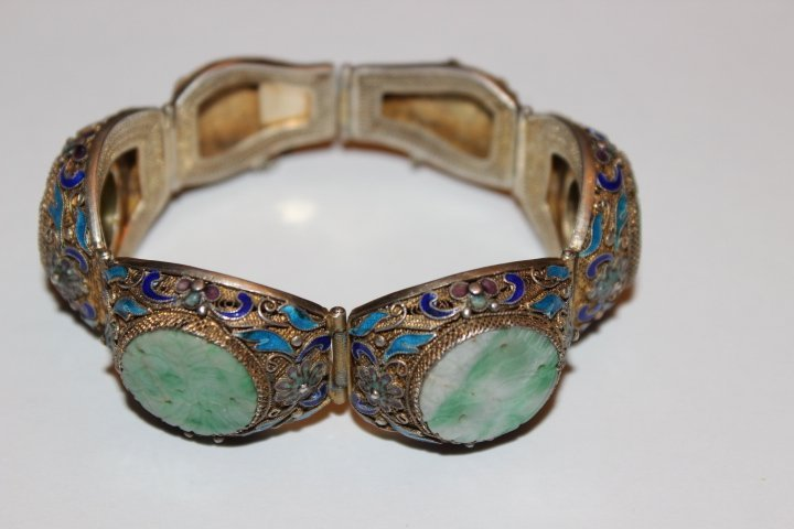 Antique Chinese Carved Jade Enamel Filigree Bracelet