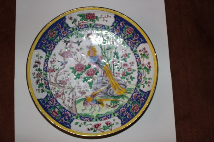 Antique Chinese Enamel on Copper Plate with Peacocks