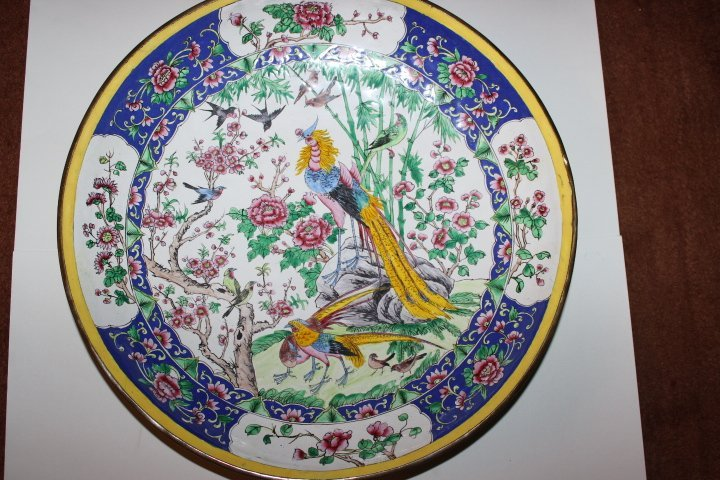 Antique Chinese Enamel on Copper Plate with Peacocks - 2