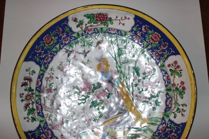 Antique Chinese Enamel on Copper Plate with Peacocks - 3
