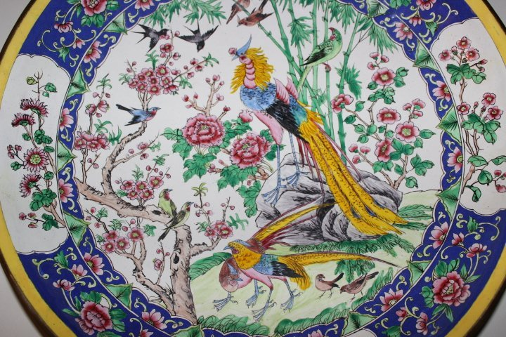 Antique Chinese Enamel on Copper Plate with Peacocks - 4