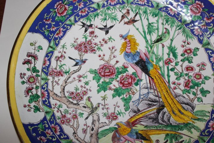 Antique Chinese Enamel on Copper Plate with Peacocks - 5