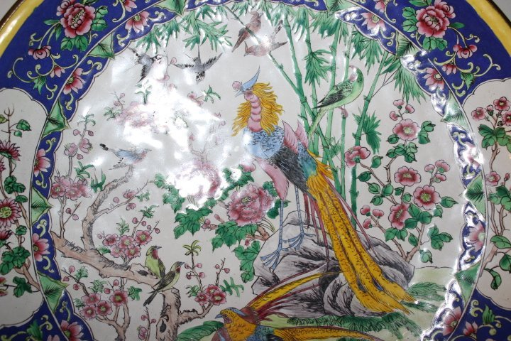 Antique Chinese Enamel on Copper Plate with Peacocks - 6