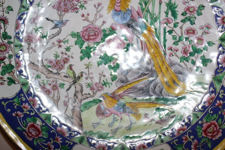 Antique Chinese Enamel on Copper Plate with Peacocks - 7