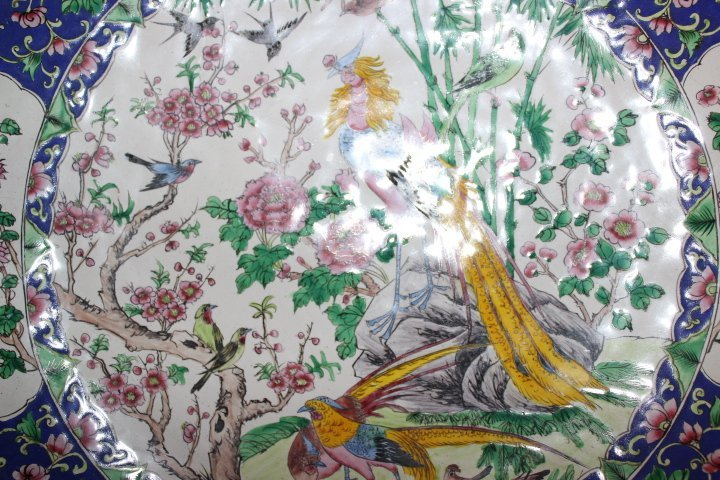 Antique Chinese Enamel on Copper Plate with Peacocks - 8