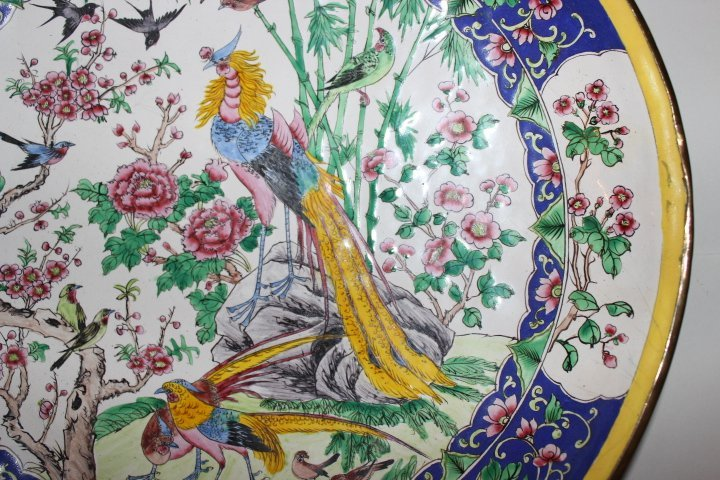Antique Chinese Enamel on Copper Plate with Peacocks - 9