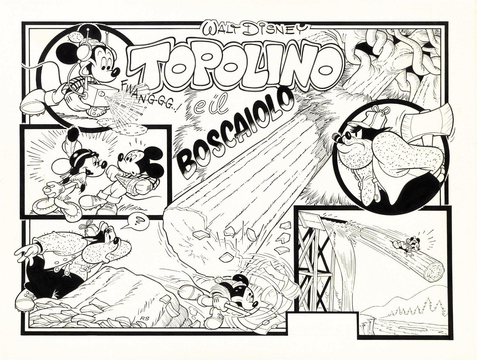 """Scarpa Romano - """"Topolino e il boscaiolo"""", 1985"""