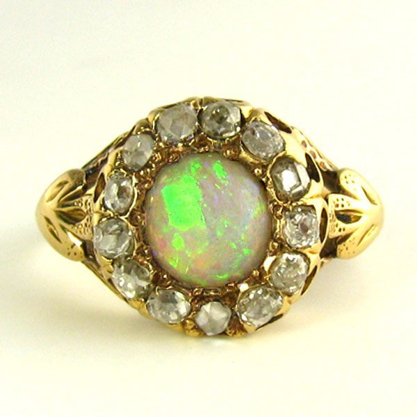Early 1900's to Art Deco Opal & Old Mine Diamond Ring