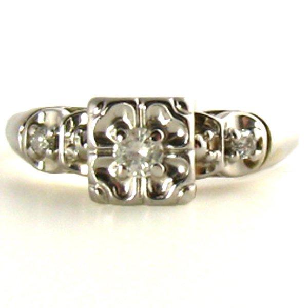 Vintage Illusion Ring, White Gold Diamond, 14K