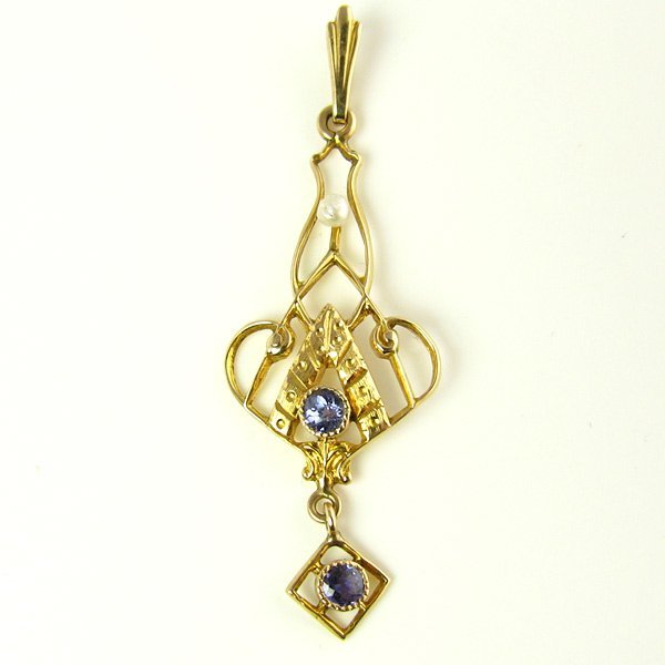Antique Necklace with Natural Sapphires & Seed Pearl