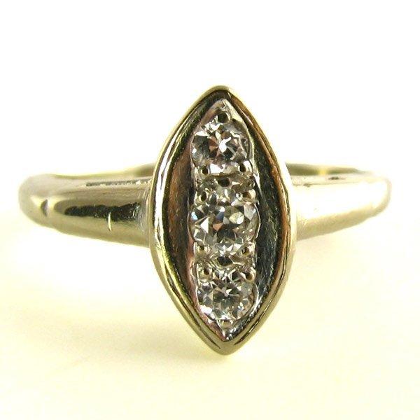 Vintage Old European Cut Diamond Ring in White Gold