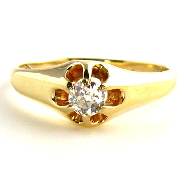 Antique Diamond Ring: 1/5th Carat Early 1900's in 14K G