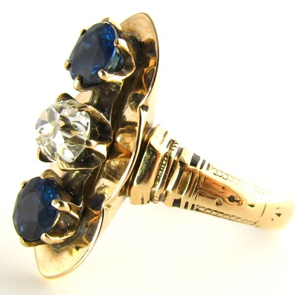 Victorian Diamond &Blue Sapphires Ring: Appraised $2450