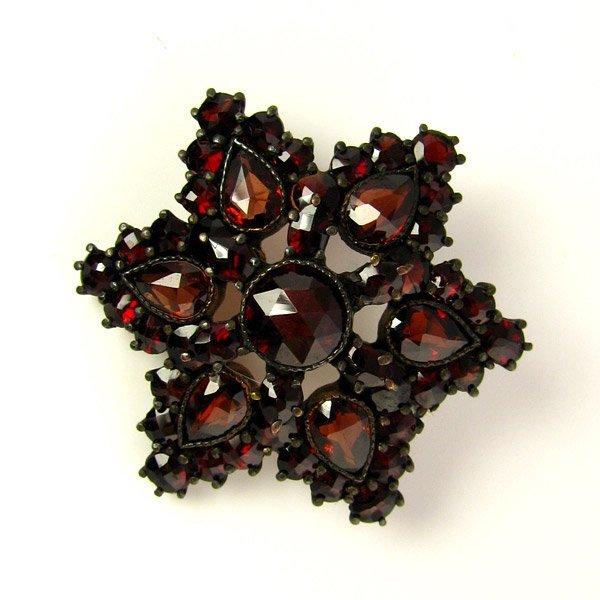 Bohemian Garnet Brooch - Star