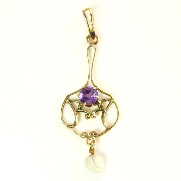 Antique Necklace with a Natural Amethyst in 10K Gold