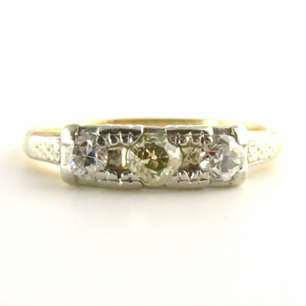 Trilogy Art Deco Yellow Diamond Ring