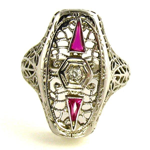 Art Deco FiligreeRing: Diamond, Spinel & 18K White Gold