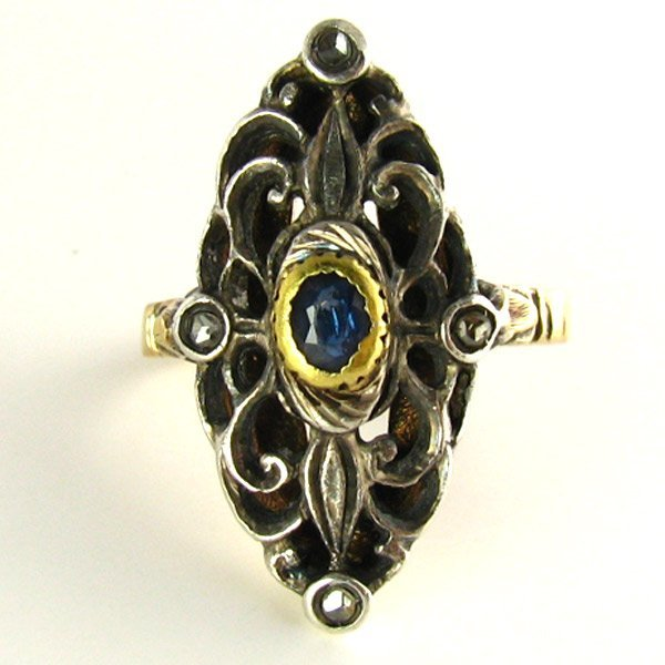 Antique Silver Topped 18K Gold, Sapphire, Diamond Ring