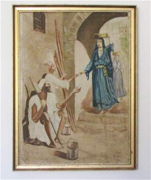 Late 19th- Early 20th C Arabic/Turkish Painting