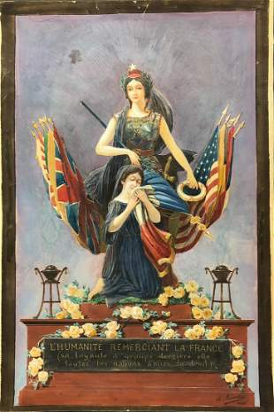 WWI Era Signed Watercolor Dated 1920, Militaria