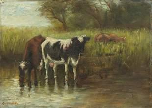 Geniveve Estey, MA, USA, Late 19th C Oil/Canvas