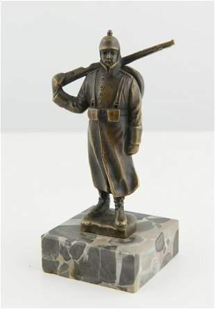 World War I German Bronze of a Soldier