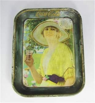 Woman Golfer Coca Cola Tray Original 1920's