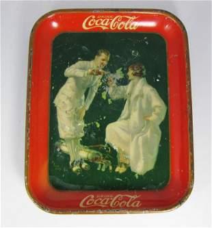Female & Male Golf Original Coca Cola Tray 1920's