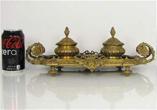 19th Century Ink Well Bronze and Marble Desk Set