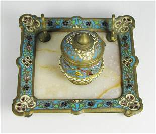 19th C. Desk Ink Well Bronze, Marble and Enamel