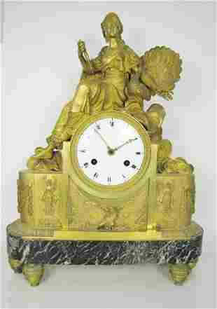 French Empire Bronze Guilded Clock Early 19th C