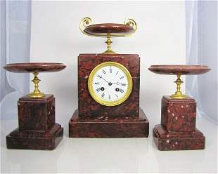 Late 19th/Early 20th C Bronze/Marble Clock Set
