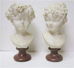 Pair of Marble Statues A.G. Lanzirotti 19th C