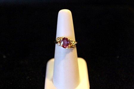 Lady's 14K Yellow Gold Pink Sapphire/Diamond Ring