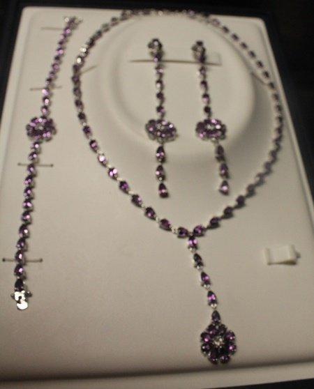 Set of Sterling Silver London Blue Topaz Necklace,