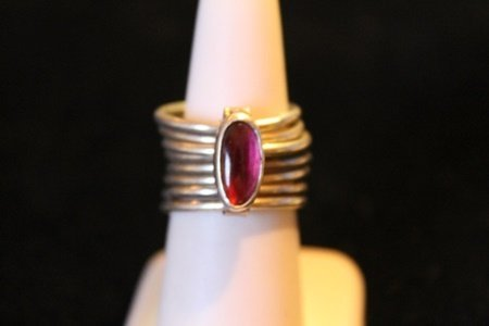Unisex Stacked Sterling Silver Cabochon Ruby Ring