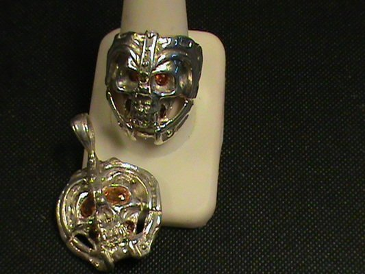 "Very Unique 2 Piece Set, Rubies & Sapphire ""Skull"" Ring"