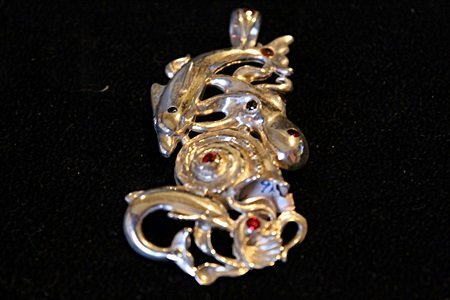Solid Sterling Silver Rare Hand Made Large Ocean