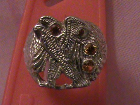 """Man's Solid Sterling Silver """"Walking Eagle"""" Sapphire"""
