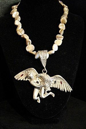 """Opal Necklace With Sterling Silver """"Bird & Child"""""""