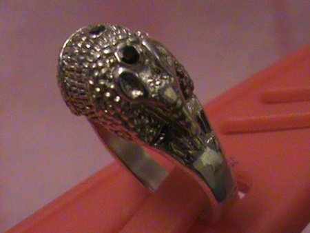 """Unisex Solid Sterling Silver """"Full Armadillo"""" Blue"""