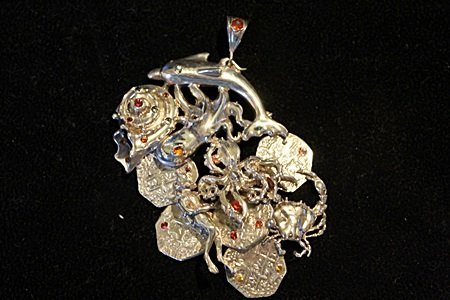 Solid Sterling Silver Rare Hand Made Large Oceanic